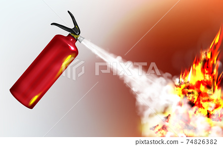 Extinguishing flame with fire extinguisher vector 74826382