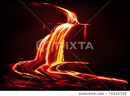 Vector background with lava river, volcano eruption 74826389