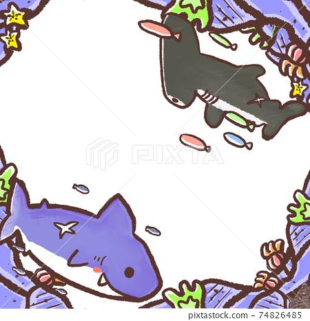 R:更多童話水族館☆壁紙框架與鯊魚的融合 74826485