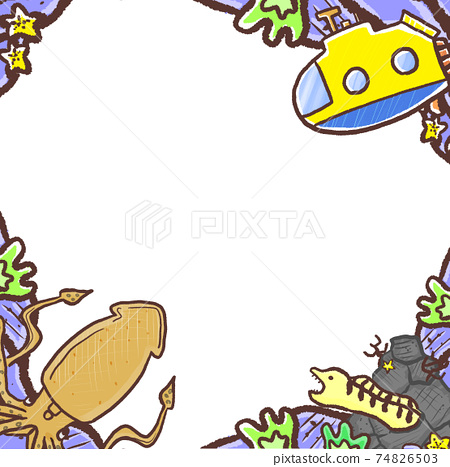R:更多童話水族館☆潛艇,巨型魷魚和海鰻牆紙框架 74826503