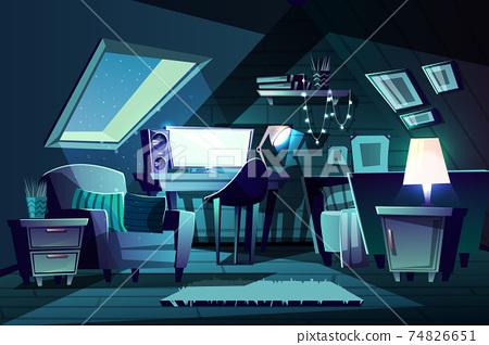 Vector girl's room at night. Cartoon garret bedroom 74826651