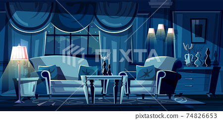 Vector cartoon living room at night, interior 74826653
