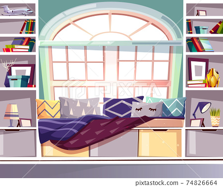 Bay window seat at home library vector interior 74826664