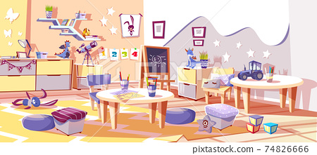 Kids nursery or kindergarten room vector interior 74826666