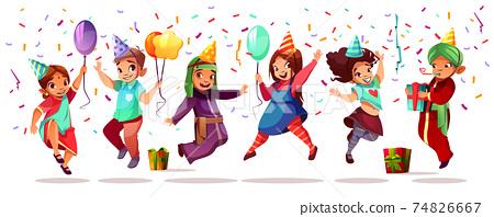 Children nationalities birthday vector celebration 74826667