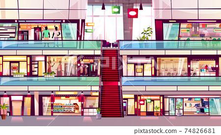 Mall shops escalator interior vector illustration 74826681