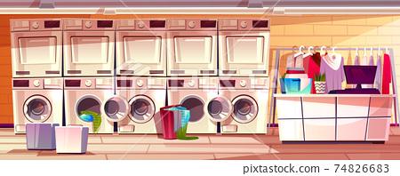Laundry shop, laundromat room vector illustration 74826683