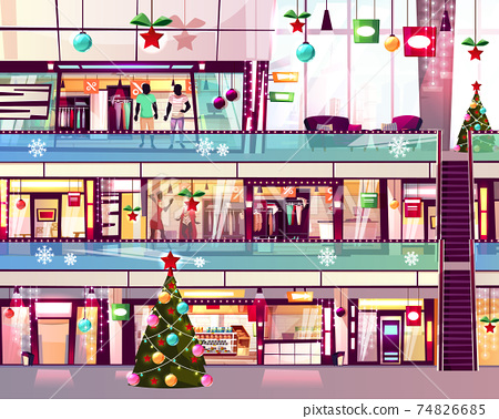Christmas mall shops escalator vector illustration 74826685