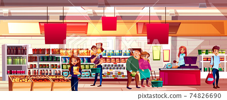 People in supermarket grocery vector illustration 74826690