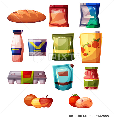 Grocery products supermarket vector illustration 74826691