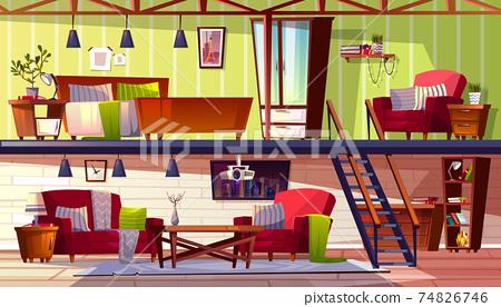 Two storey loft rooms interior vector illustration 74826746