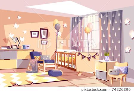 Nursery baby room interior vector illustration 74826890
