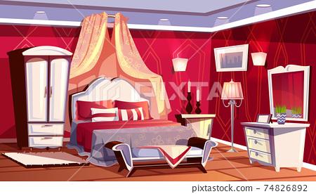 Vector interior of rich bedroom, luxurious room 74826892