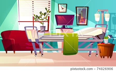 Hospital ward room interior vector illustration 74826906
