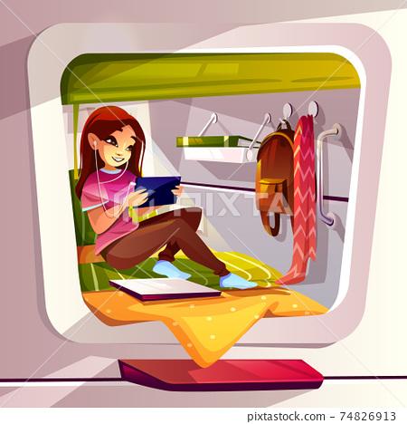 Girl in capsule hotel or hostel vector illustration 74826913