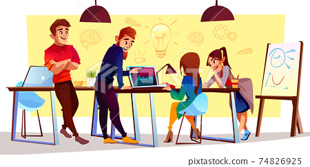 Vector cartoon freelancers, designers at coworking center 74826925