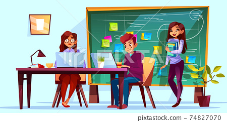 Team office and Kanban board vector illustration 74827070