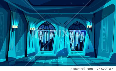Vector castle ballroom at night, gothic hall 74827187