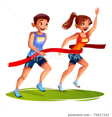 Runners finish woman and man vector illustration 74827192