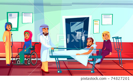 Muslim doctor and patients vector illustration 74827201