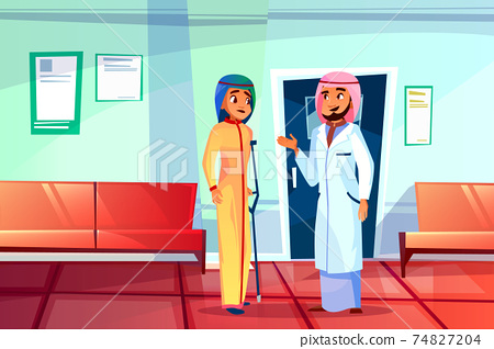 Muslim doctor and patient vector illustration 74827204