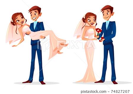 Couple wedding bride and bridegroom vector illustration 74827207