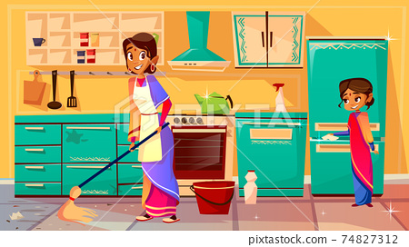 Indian housewife cleaning kitchen vector illustration 74827312