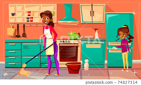 Black housewife cleaning kitchen vector illustration 74827314
