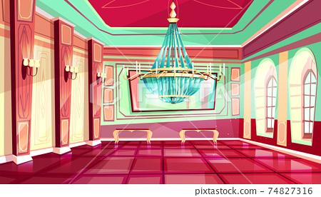 Vector cartoon castle palace ballroom background 74827316