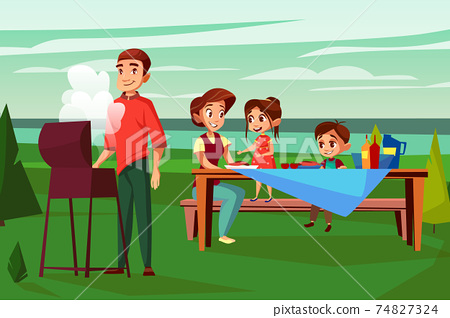 Family barbecue picnic vector cartoon illustration 74827324