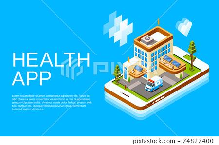 Vector isometric online medicine health app 74827400