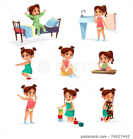 Vector cartoon girl daily routine activity set 74827442