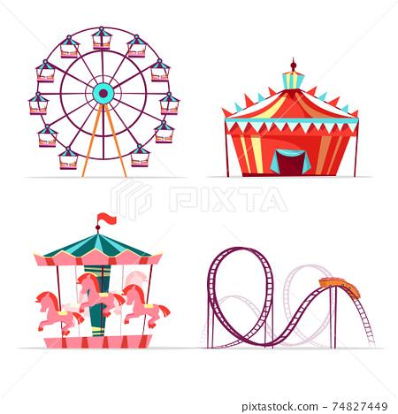 Vector cartoon amusement park attractions set. 74827449
