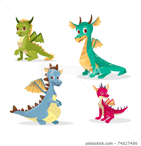 Cartoon dragons vector illustration of funny fairy magic smiling monster and happy cute creatures 74827480