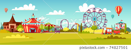Amusement park vector cartoon illustration of attractions coaster rides, circus merry-go-round carousels and observation wheel 74827501