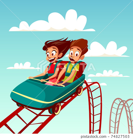 Kids on rides vector cartoon illustration of boy and girl riding on rollercoaster in amusement park 74827503
