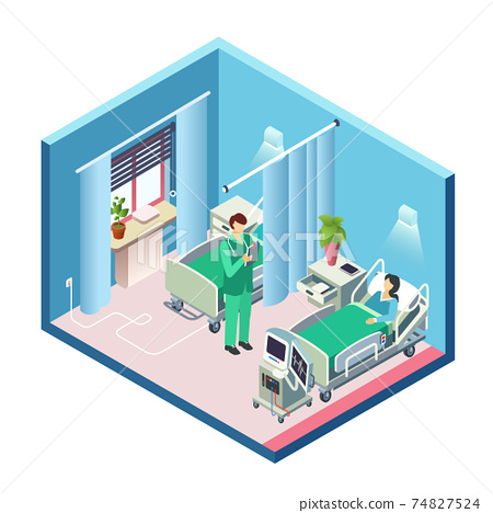 Vector isometric hospital room, patient, doctor 74827524