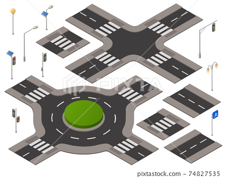 Vector isometric crossroads set 74827535