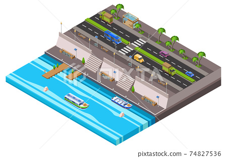 Riverside city isometric 3D vector illustration of waterfront town map with cars and river ferry boat pier 74827536