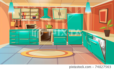 Vector cartoon modern kitchen interior background 74827563