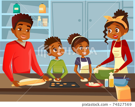 Afro American black family cooking together at kitchen vector flat cartoon illustration of African parents and children preparing meal food 74827569