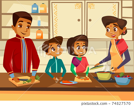 Vector cartoon indian family at kitchen concept 74827570
