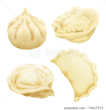 Vector realistic 3d dumplings pelmeni khinkali 74827572