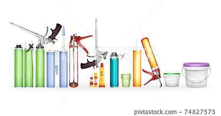 Construction foam, silicone sealant, glue and paint vector illustration of 3D realistic bottles and containers mockup models 74827573
