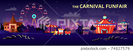 Amusement park vector cartoon illustration of carnival funfair at night with illumination of rides, carousels and circus tent 74827579