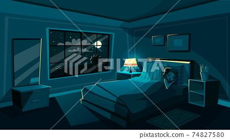 Vector cute young woman sleeping bedroom at night 74827580