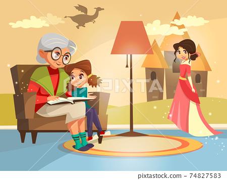 Vector cartoon grandmother reading to girl 74827583