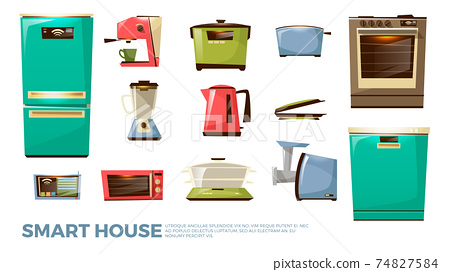 Vector cartoon kitchen modern electric appliances 74827584