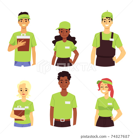 Fast food restaurant service workers in green uniform a flat vector illustrations 74827687