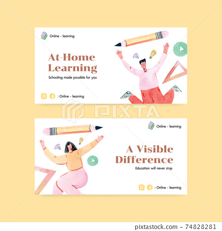 Twitter template with online learning concept design for social media and community watercolor illustration 74828281